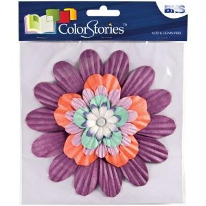 "Blue Hills Studio™ ColorStories™ Handmade Paper Stacked Flowers Purple: Purple, Paper, 6"", Dimensional, (model BHS10509), price per each"