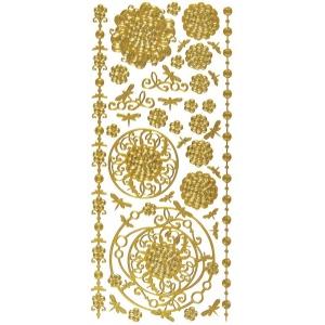 "Dazzles™ Stickers Gold Aqua Lily: Metallic, 4"" x 9"", Outline, (model HOTP2066), price per each"