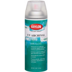 Krylon® Gallery Series™ UV Archival Varnish Spray Gloss; Finish: Gloss; Size: 11 oz; Type: Workable Fixative; (model K1375), price per each