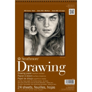 "Strathmore® 400 Series 11"" x 14"" Medium Surface Wire Bound Drawing Pad; Binding: Wire Bound; Color: White/Ivory; Format: Pad; Quantity: 24 Sheets; Size: 11"" x 14""; Texture: Medium; Weight: 80 lb; (model ST400-5), price per 24 Sheets pad"