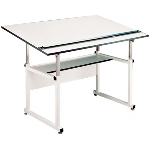 "Alvin® WorkMaster® Table White Base White Top 37 1/2""  x 72""; Angle Adjustment Range: 0 - 40; Base Color: White/Ivory; Base Material: Steel; Height Range: 29"" - 46""; Top Color: White/Ivory; Top Material: Melamine; Top Size: 37 1/4"" x 72""; (model WM72-4-XB), price per each"