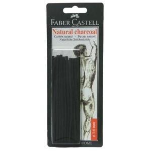 Faber-Castell® Natural Willow Charcoal Stick 20-Pack: Black/Gray, Stick, 3 mm - 6 mm, Willow, (model FC129198), price per pack