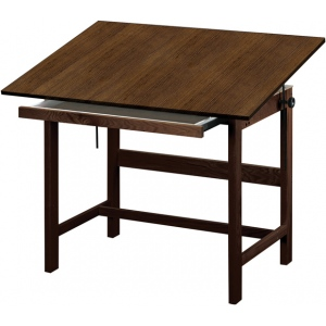 "Alvin® Titan Solid Oak Table Walnut Finish 31"" x 42"" x 37""; Angle Adjustment Range: 0 - 45; Base Color: Brown; Base Material: Oak; Height: 37""; Top Color: Brown; Top Material: Melamine; Top Size: 31"" x 42""; (model WTB42-WA), price per each"