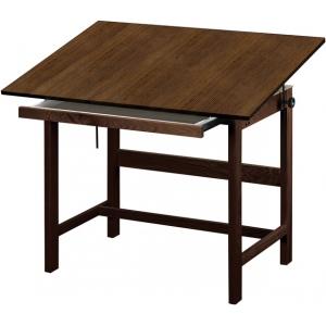 """Alvin® Titan Solid Oak Table Walnut Finish 31"""" x 42"""" x 37"""": 0 - 45, Brown, Oak, 37"""", Brown, Melamine, 31"""" x 42"""", (model WTB42-WA), price per each"""