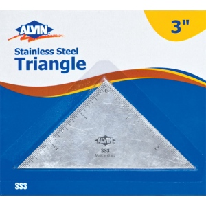 """Alvin® 3"""" Triangle Stainless Steel Ruler; Color: Metallic; Material: Steel; Size: 3""""; Type: Ruler; (model SS3), price per each"""
