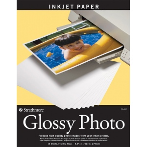 """Strathmore® 8.5"""" x 11"""" Glossy Inkjet Paper; Color: White/Ivory; Quantity: 15 Sheets; Size: 8 1/2"""" x 11""""; Type: Gloss; (model ST59-632), price per 15 Sheets"""