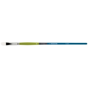 Princeton™ Snap! White Taklon Long Handle Brush Watercolor and Acrylic Brush Filbert 4; Length: Long Handle; Material: Taklon; Shape: Filbert; Type: Acrylic, Watercolor; (model 9800FB-4), price per each