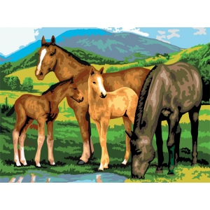 "Royal & Langnickel® Painting by Numbers™ 11 1/4 x 15 3/8 Junior Large Set Horses & Foals: 11 1/4"" x 15 3/8"", (model PJL13), price per set"