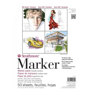"""Strathmore 500 Series Tape Bound Marker Pad: 14"""" x 17"""", 50 Sheets"""