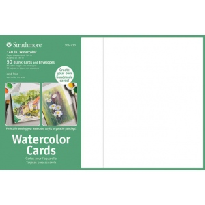"Strathmore® 5 x 6.875 Watercolor Cards and Postcards 50-Pack; Color: White/Ivory; Envelope Included: Yes; Format: Card; Quantity: 50 Cards; Size: 5"" x 6 7/8""; Texture: Cold Press; Weight: 140 lb, 80 lb; (model ST105-210), price per 50 Cards"