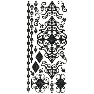 "Dazzles™ Stickers Black Flourish; Color: Black/Gray; Size: 4"" x 9""; Type: Outline; (model HOTP2065), price per each"