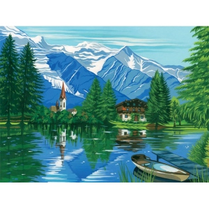 "Reeves™ Large Acrylic Painting By Numbers Set Woodland Chalet: 12"" x 15 1/2"", (model PL55), price per each"