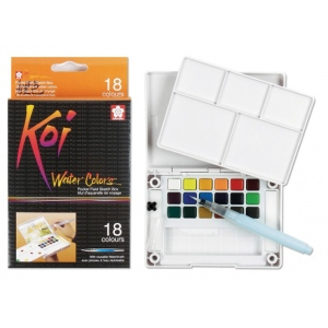 Koi™ Watercolor Paint Pocket Field Sketch 18-Color Set: Multi, Pan, Watercolor, (model XNCW-18N), price per set