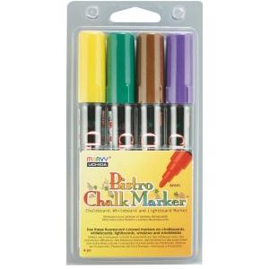 Marvy® Bistro Chalkboard and Lightboard 4-Color Set D; Color: Multi; Ink Type: Water-Based; Tip Size: 6mm; (model MR480-4D), price per set