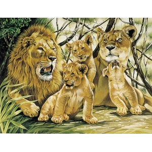 "Reeves™ Large Acrylic Painting By Numbers Set Pride of Lions: 12"" x 15 1/2"", (model PL24), price per each"