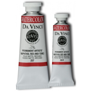 Da Vinci Artists' Watercolor Paint 37ml Naphthol Red: Red/Pink, Tube, 37 ml, Watercolor, (model DAV257), price per tube