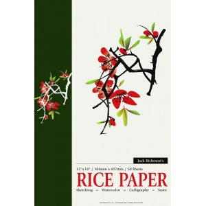 "Richeson Rice Paper Pad; Color: White/Ivory; Format: Pad; Quantity: 50 Sheets; Size: 12"" x 18""; Type: Rice; (model R101070), price per 50 Sheets pad"