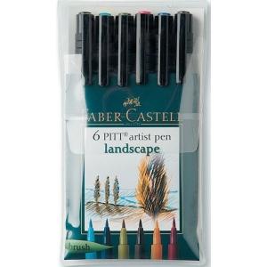 Faber-Castell® PITT® Artist Brush Pen Landscape 6-Color Set: Multi, India, Pigment, Brush Nib, Brush Pen, (model FC167105), price per set