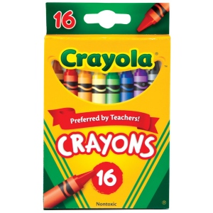 Crayola® Original Crayon 16-Color Set; Color: Multi; Format: Stick; (model 52-3016), price per pack