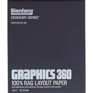 """Bienfang® Graphics 360 11"""" x 14"""" Layout Paper Pad; Color: White/Ivory; Format: Pad; Quantity: 50 Sheets; Size: 11"""" x 14""""; (model 360-2), price per 50 Sheets pad"""