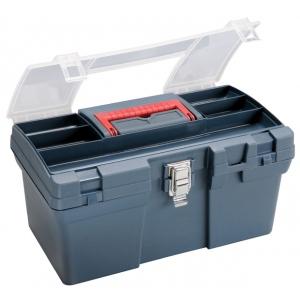 "Heritage Arts™ Medium Art Blue Tool Box: Black/Gray, Plastic, 8""d x 16""w x 9 1/2""h, (model HPB1610), price per each"