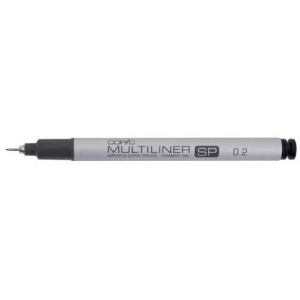 Copic® Multiliner SP (Refillable) Black Pen .2mm; Color: Black/Gray; Ink Type: Pigment; Refillable: Yes; Tip Size: .2mm; Tip Type: Fine Nib; (model MLSP02), price per each