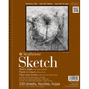 "Strathmore® 400 Series 11"" x 14"" Wire Bound Sketch Pad: Wire Bound, White/Ivory, Pad, 100 Sheets, 11"" x 14"", 60 lb, (model ST455-11), price per 100 Sheets pad"