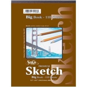 "Seth Cole 5 1/2"" x 8 1/2"" Premium Sketch Big Book; Binding: Wire Bound; Color: White/Ivory; Format: Pad; Quantity: 110 Sheets; Size: 5 1/2"" x 8 1/2""; Weight: 60 lb; (model SC92), price per 110 Sheets pad"