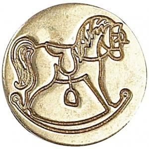 Manuscript Decorative Wax Sealing Coin Rocking Horse: Round, 15 mm, (model MSH727RCK), price per each