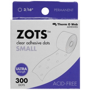 Therm O Web Zots™ Clear Adhesive Boxed Dots Small: Clear, Glue, Round, (model TW3782), price per box