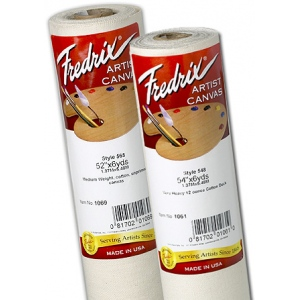 "Fredrix® Artist Series 53 x 6yd Unprimed Cotton Canvas Roll; Color: White/Ivory; Format: Roll; Material: Cotton; Size: 53"" x 6 yd; Type: Unprimed; (model T1069), price per roll"