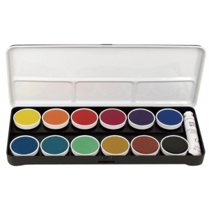 Finetec Opaque Watercolor Paint 12-Color Set With Metal Lid: Multi, Pan, Watercolor, (model LO12), price per set