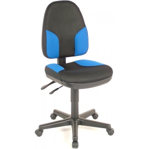 "Alvin® Black & Blue High Back Office Height Monarch Chair; Arm Rest Included: No; Color: Black/Gray, Blue; Foot Ring Included: No; Height Range: Under 24""; Seat Material: Fabric; (model CH555-85), price per each"