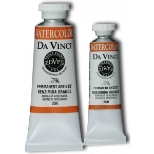 Da Vinci Artists' Watercolor Paint 15ml Benzimida Orange: Orange, Tube, 15 ml, Watercolor, (model DAV204F), price per tube