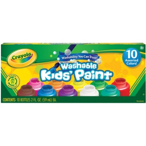 Crayola® Washable Kids' Paint 10-Color Bottle Set: Multi, Bottle, 2 oz, Washable, (model 54-1205), price per set