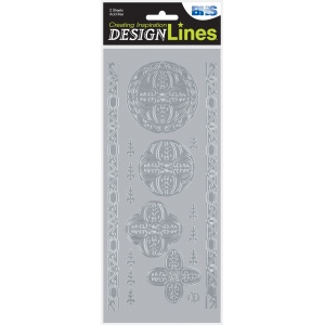 "Blue Hills Studio™ DesignLines™ Outline Stickers Silver #28; Color: Metallic; Size: 4"" x 9""; Type: Outline; (model BHS-DL028), price per pack"