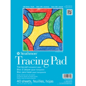 """Strathmore® 100 Series 9"""" x 12"""" Tape Bound Tracing Pad: Tape Bound, White/Ivory, Pad, 40 Sheets, 9"""" x 12"""", Tracing, (model ST27-170-1), price per 40 Sheets pad"""