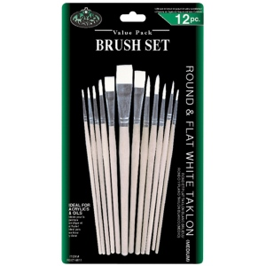 Royal & Langnickel® White Taklon Round & Flat Brush Set; Length: Multi; Material: White Taklon; Shape: Multi; Type: Multi; (model RSET-9611), price per set