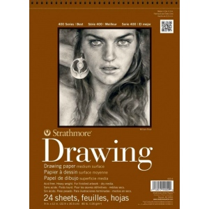 "Strathmore® 400 Series 14"" x 17"" Medium Surface Wire Bound Drawing Pad: Wire Bound, White/Ivory, Pad, 24 Sheets, 14"" x 17"", Medium, 80 lb, (model ST400-7), price per 24 Sheets pad"