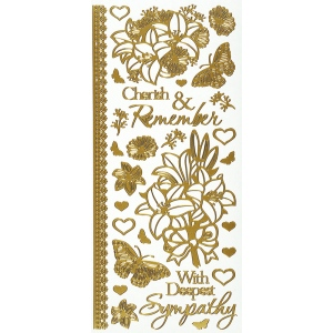 "Dazzles™ Stickers Gold Sympathy; Color: Metallic; Size: 4"" x 9""; Type: Outline; (model HOTP2117), price per each"