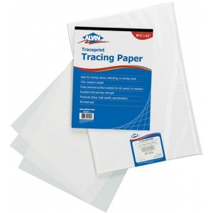 "Alvin® Traceprint Tracing Paper 100-Sheet Pad 24"" x 36"": Fold Over, White/Ivory, Sheet, 100 Sheets, 24"" x 36"", Tracing, 17 lb, (model 6811-S-10), price per 100 Sheets"