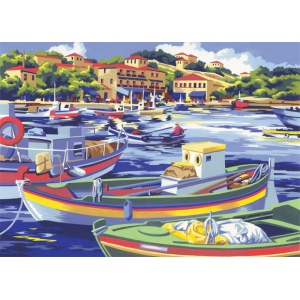 "Royal & Langnickel® Painting by Numbers™ 12 3/4 x 15 3/4 Adult Set Mediterranean Fishing Boat; Board Size: 12 3/4"" x 15 3/4""; (model PAL6), price per set"