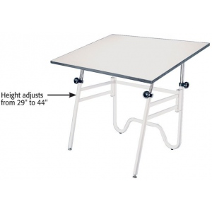 "Alvin® Opal Table White Base White Top 24"" x 36""; Angle Adjustment Range: 0 - 45; Base Color: White/Ivory; Base Material: Steel; Height Range: 29"" - 44""; Top Color: White/Ivory; Top Material: Melamine; Top Size: 24"" x 36""; (model OP36-4), price per each"