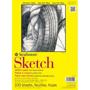 """Strathmore® 300 Series 14"""" x 17"""" Glue Bound Sketch Pad; Binding: Glue Bound; Color: White/Ivory; Format: Pad; Quantity: 100 Sheets; Size: 14"""" x 17""""; Weight: 50 lb; (model ST350-114), price per 100 Sheets pad"""