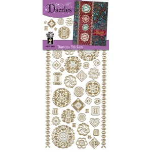 """Dazzles™ Stickers Buttons Silver; Color: Metallic; Size: 4"""" x 9""""; Type: Flat; (model HOTP1916), price per each"""