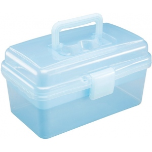 "Heritage Arts™ Small Art Tool Box; Color: Blue; Material: Plastic; Size: 5""d x 9 1/2""w x 5 1/4""h; (model HPB1006), price per each"