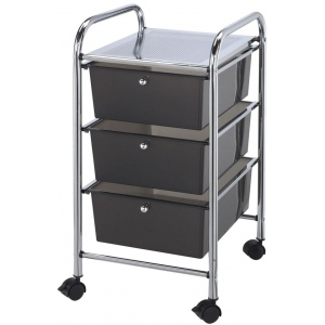 "Blue Hills Studio™ Storage Cart 3-Drawer (Deep) Smoke: Black/Gray, 13 3/4""l x 9 3/4""w x 5""h, Plastic, 3-Drawer, 15 ""d x 11 1/4""w x 26""h, (model SC3SM), price per each"