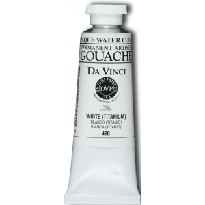 Da Vinci Artists' Gouache Opaque Watercolor Titanium White 150ml; Color: White/Ivory; Format: Tube; Size: 150 ml; Type: Gouache, Watercolor; (model DAV490L), price per tube
