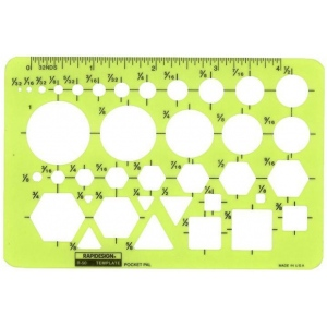 "Rapidesign® Pocket Pal Template; Scale: 1/32"" - 1""; (model 50R), price per each"