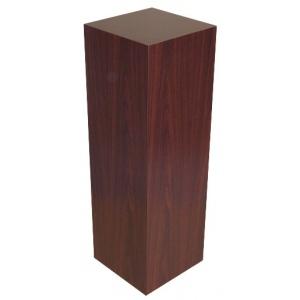"Xylem Mahogany Stained Wood Veneer Pedestal: 15"" x 15"" Base, 24"" Height"